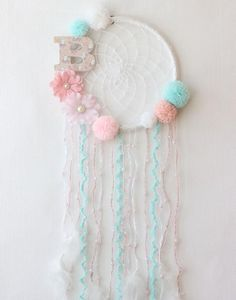 Baby Girl Dream Catcher Wall Hanging, Personalized Baby Gifts For Girl, Crochet Dreamcatcher, Pink Mint Decor Baby Shower Decorations Girl Dream Catcher Nursery, Dream Catcher Craft, Dream Catchers, Diy For Girls, Gifts For Girls, Mint Decor, Baby Room Wall Decor, Nursery Decor, Baby Decor