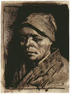 Vincent van Gogh Drawing, Pencil, pen and brush in brown ink, brown wash, on laid paper Nuenen: December - January , 1884 - 85 Van Gogh Museum Amsterdam, The Netherlands, Europe F: 1177, JH: 609 Image Only - Van Gogh: Head of a Woman