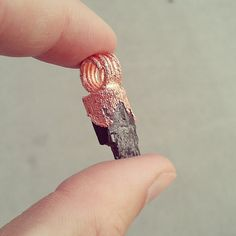 copper electroformed mini black tourmaline by rsvulpesvulpes