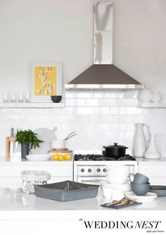 Love this bright, white kitchen. Styling by The Wedding Nest | Style your newlywed home #galloplifestyle #wedding #giftregister