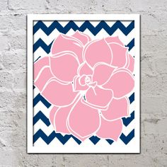 Bold Colorful Dahlia Flower Chevron Pink Navy Blue Decor Wall Art Poster Nursery Print Bedroom Bathroom