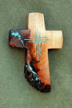 "Mesquite Cross With Turquoise Inlay 6 "" High X 4"" Wide"