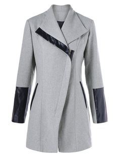 Wool Blend Leather Panel Coat