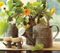 these old galvanized watering cans make fantastic vases for these beautiful summer flowers by allie