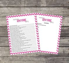 Hot Pink and White Baby Shower Game - Nursery Rhyme Quiz to Entertain your Guests!