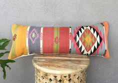 "Large Kilim Lumbar Pillow | Bed Pillow - 14""X 36"" - Ethnic, Vintage, Handwoven, Textile"