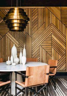 Stunning dining room design with detailed wooden walls | Katie Martinez Design