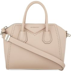 GIVENCHY Antigona small studded leather tote ($2,465) ❤ liked on Polyvore featuring bags, handbags, tote bags, purses, nude, givenchy tote bag, studded leather handbag, zip tote, zippered tote and zip tote bag