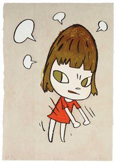 YOSHITOMO NARA  Pissed Off  woodcut in colors, 2010