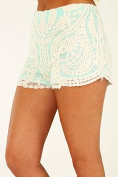 Lace Be Friends Shorts: Mint/Cream on Wanelo