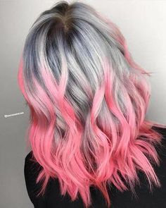See what 40 springtime hair color ideas are making us want to call our hairdressers right now! This pink is poppin'! It's so bright and pigmented. It looks awesome contrasted with the silver-gray. #hairideas #haircolor