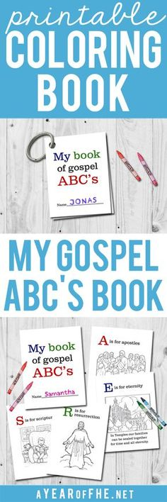 A Year of FHE // FREE LDS Gospel ABC's printable coloring book. This is so great for a quiet sacrament meeting activity! #lds #coloring