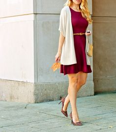 Lifestyle by Joules || Target Burgundy fit and flare sweater dress, kimono cardi, leopard pumps, leopard belt, kate spade wristlet