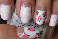 Copy That, Copy Cat: Subtle Marble & Roses nail art