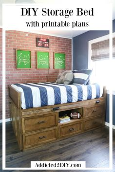 Learn how to build this beautiful and functional DIY storage bed that also includes a hidden storage compartment diy beginner diy pallet diy projects diy rustic diy woodworking Kids Beds With Storage, Twin Storage Bed, Bed Frame With Storage, Diy Bed Frame, Bedroom Storage, Diy Storage Bed Plans, Kids Beds Diy, Full Size Storage Bed, Table Storage