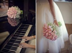 Beautiful pale pink tulip and baby breath bouquet wedding, image by Mark Tattersall Photography