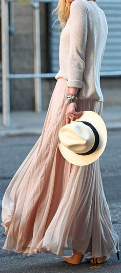 Blush Maxi Pleated Layered Chiffon Skirt by Brooklyn Blonde