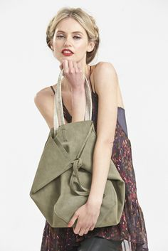 The Brush Off Suede Tote in Faded Khaki www.hideseekers.com