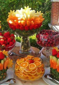 Maybe an edible centerpiece for a wedding? Or at least definitely on the menu in a wedding buffet line! I want tons of fruit at my wedding!!!