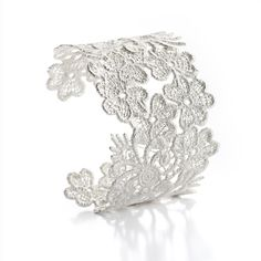www.ORRO.co.uk - Brigitte Adolph - Wide Silver Nottingham Lace Cuff - ORRO Contemporary Jewellery Glasgow...