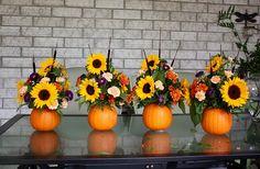 Pumpkin Flower Arrangement {Thanksgiving Centrepiece} - Life at Cloverhill Pumpkin Centerpieces, Thanksgiving Centerpieces, Fall Floral Arrangements, Wedding Flower Arrangements, Bunch Of Flowers, Fall Flowers, Pumpkin Flower, Fall Bouquets, Fall Wedding