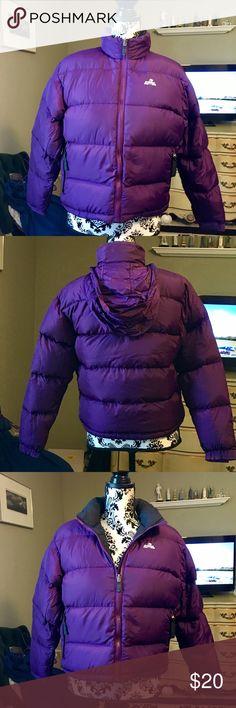 EMS purple puffer jacket with hidden hood EUC SZ S EMS purple puffer jacket with hidden hood EUC SZ S down filled EMS Jackets & Coats Puffers