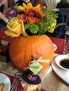 Lil' Pumpkin inspired center piece for fall baby shower