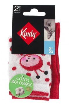 Lot de 2 paires de chaussettes jersey fantaisies en coton biologique pour bébé, hauteur mi-mollet. Ce pack comprend 1 paire motif coccinelle et 1 paire motif pois. Moins de pesticides pour la planète. 97-91% Coton biologique , 1-7% polyamide , 2-2% élasthanne #kindy #kindylayette #kindybébé  www.kindy.fr