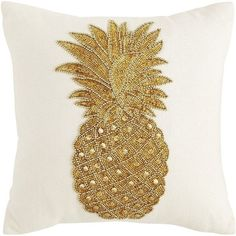 Pier 1 Imports Tropical Beaded Pineapple Velvet Pillow ($32) ❤ liked on Polyvore featuring home, home decor, throw pillows, cream throw pillows, pineapple home decor, pier 1 imports, beaded accent pillows and handmade home decor