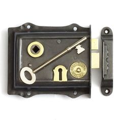A very decorative, steel cased, brass trimmed rimlock. Brass latch and bolt, with a very crisp action. Registered improved Steel Case No 768. Fully restored and in full working order. Supplied complete with handcut replacement keep and decorative cast iron keep.