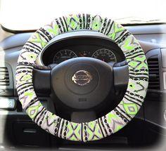 Steering-wheel-cover-wheel-car-accessories-Aztec-Neon-Green-Steering-Wheel-Cover