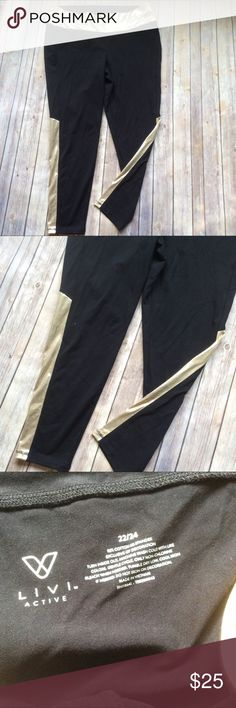 Livi Active Cropped Athletic Pants size 22/24 Like new black with gold waist and stripe down side of calf. This is the Athletic brand from Lane Bryant.💠From a clean and smoke free home!💠 Add to a bundle to get a private discount 💠 Discount ALWAYS Available on 2+ items💠 No trades, holds, modeling or transactions off of Poshmark.💠 Lane Bryant Pants