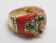 Estate Italian 18kt Yellow Gold Coral Diamond Ring