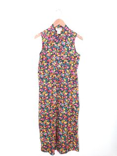 FLORAL Small GRUNGE Long Button Up Dress Made in USA  by ColonyVtg