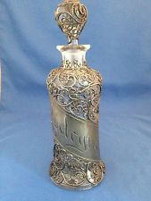 Lachrymatory Tear Bottle | ... Pewter Overlay Cologne Bottle with Original Stopper: 10 1/4 tall