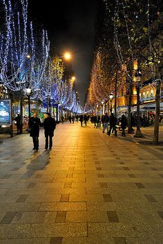 Champs Elysees by night, in Paris, France