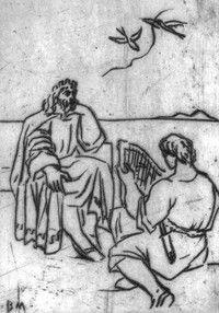 Borsos Miklós: Saul és Dávid, rézkarc, 13,5x9,5 cm