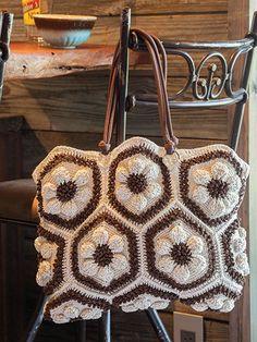 Embossed Crochet Daisy Handbag