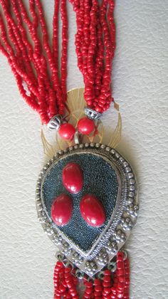 Striking long Red African Ethnic Jewellery with large Pendant and beaded tassel by NecklaceTech on Etsy