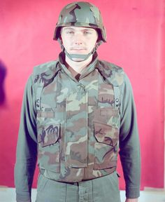 Man modelling early protoype of PASGT in 1975 - Personnel Armor System for Ground Troops - Wikipedia Us Army, Airsoft, Troops, Military Jacket, Alice, Pouch, The Incredibles, Cold War, Ladder