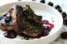 Grilled Pork Chops with Cherry Wine Sauce