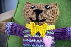 I wrote out this very simple pattern for a bow tie as an easy way to dress up a bear I knit for Mother Bear Project. It is intended for beginner knitters who may not be comfortable improvising. That being said I think it would be cute added to any toy animal.