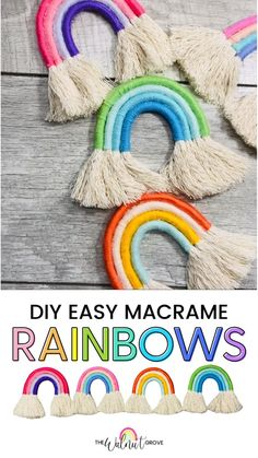 Easy Yarn Crafts, Yarn Crafts For Kids, Diy Crafts For Gifts, Diy Crafts Videos, Diy For Kids, Fun Crafts, Diy Videos, Macrame Projects, Yarn Projects