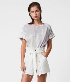 ALLSAINTS US: Womens Hannah Paperbag Denim Shorts (white) Denim Leggings, Women's Shorts, Jeans Pants, Allsaints Looks, Leopard Skirt, Clothing Hacks, Jeans For Sale, Denim Fabric, High Waist Jeans