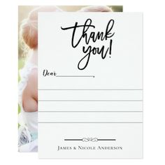 Black Modern Script Minimal Full Photo Thank You Card - minimal gifts style template diy unique personalize design