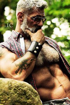 intensely handsome older man