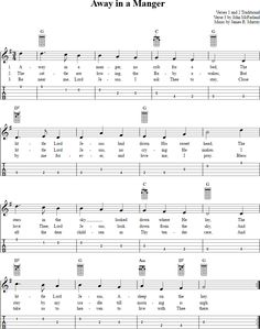 Free mandolin sheet music for Away in a Manger with chord diagrams, lyrics, and tablature. This music will also work on tenor banjo in GDAE tuning.