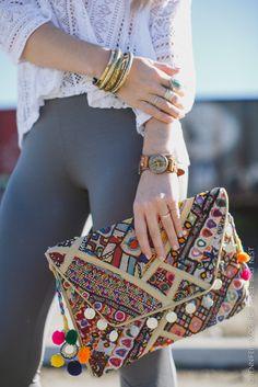 kantha pom pom clutch bag buy @threebirdnest