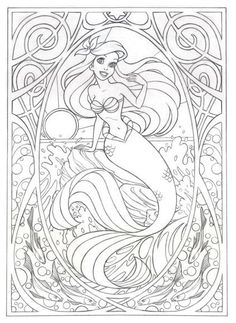 Coloring page for later! Or this >>> Art Nouveau Ariel by Jennifer Gwynne Oliver Illustration Make your world more colorful with free printable coloring pages from italks. Our free coloring pages for adults and kids. Coloring Book Pages, Printable Coloring Pages, Ariel Coloring Pages, Disney Coloring Sheets, Free Disney Coloring Pages, Disney Princess Coloring Pages, Coloring Worksheets, Free Coloring, Coloring Pages For Kids