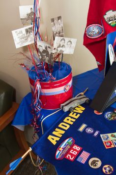 COH centerpieces with scouting pictures